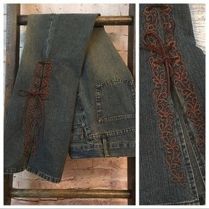 ZARA TRF Jeans w/Rawhide & Embroidered Wide Bells